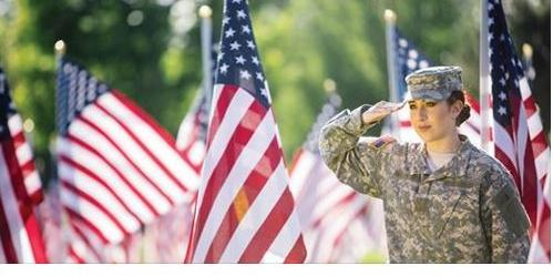 Picture of a Veteran saluting the American flag